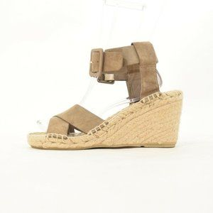 Vince Taupe Suede Leather Strap Espadrille Wedges